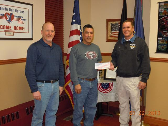 The officers of the Downingtown Veterans of Foreign Wars Post #845 provided a very generous contribution to our organization