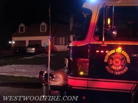 Engine 44-5 on scene of a reported chimney fire on Clearfield Lane in East Fallowfield Township.