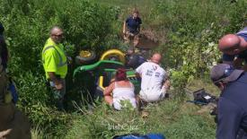 One patient was trapped under this lawn mower when rescue crews arrived.
