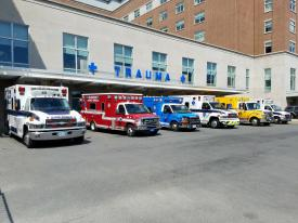 Multiple ambulances at Reading Hospital from the Honey Brook auto accident.