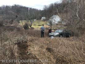 One vehicle left the roadway and drove over an embankment.