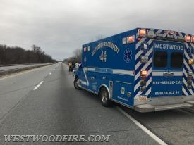 Ambulance 44-1 on scene of a one vehicle accident on the Route 30 Bypass.