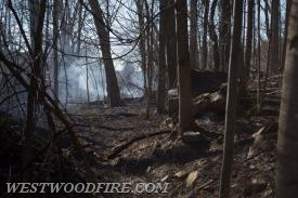 Firefighters contained the fire to approximately 3 acres of woods on fire.
