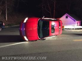 One vehicle was overturned on West Lincoln Highway.