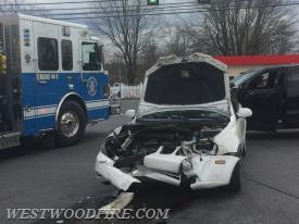 Westwood Fire and EMS on scene of a vehicle accident on Lincoln Highway at Airport Road.