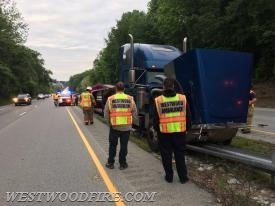 Westwood firefighters and EMTs on scene of a tractor trailer accident on the Route 30 Bypass.