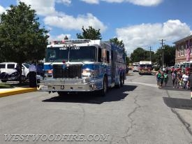 Engine 44-5 passing by the Honey Brook fire station at the end of the parade route