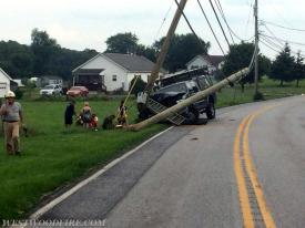One vehicle struck a pole