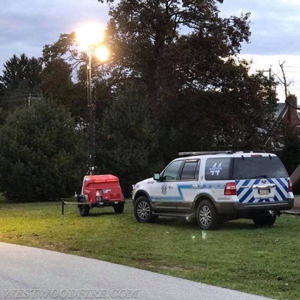 PLT 44 and Duty Vehicle 44 providing lighting at the Trunk or Treat event in Valley.