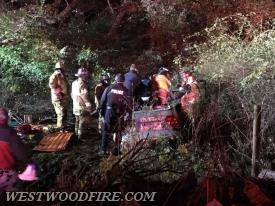 Westwood and Modena Firefighters extricate a patient from a vehicle accident down an embankment.