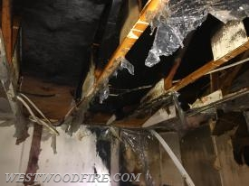 Fire was also found in the ceiling.