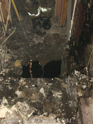 The fire also burnt through a floor.