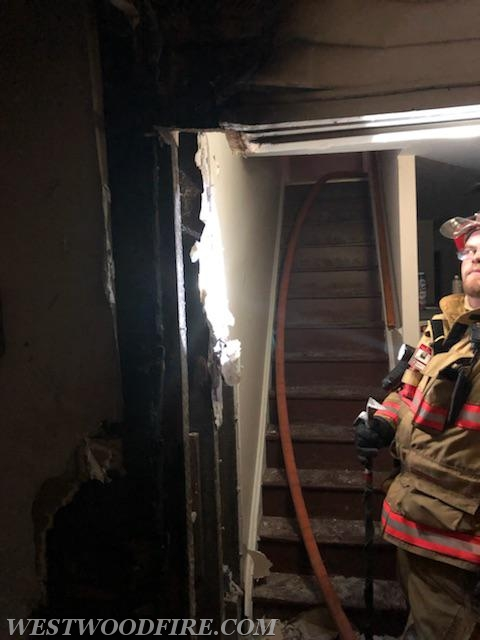 The fire was down a stairwell at the basement level of the structure.