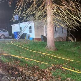 One line was in service to extinguish the fire located in the structure.