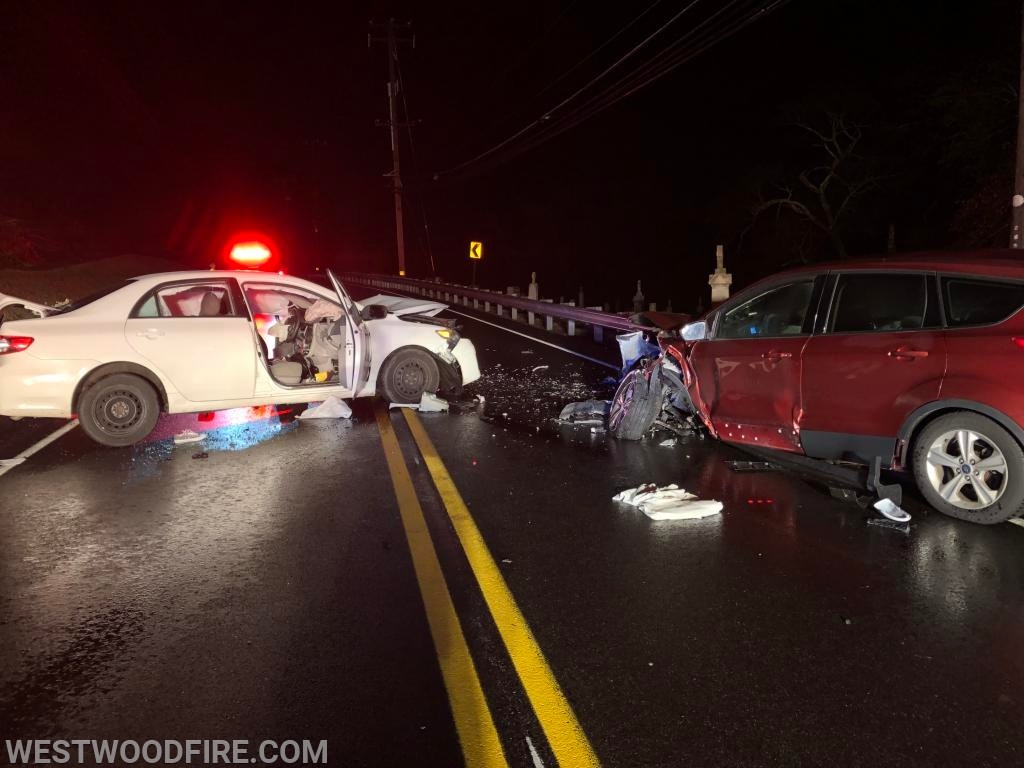 Westwood responded to a two vehicle head-on collision on Black Horse Hill Road.