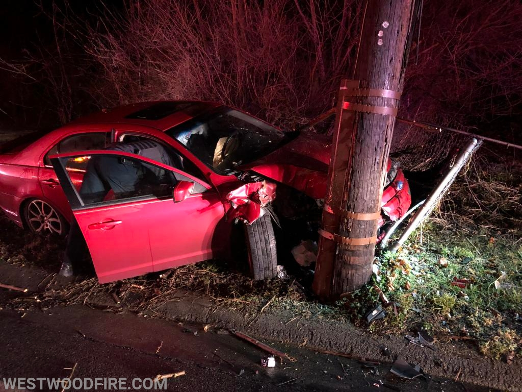 One vehicle collided with a utility pole on Strode Avenue.