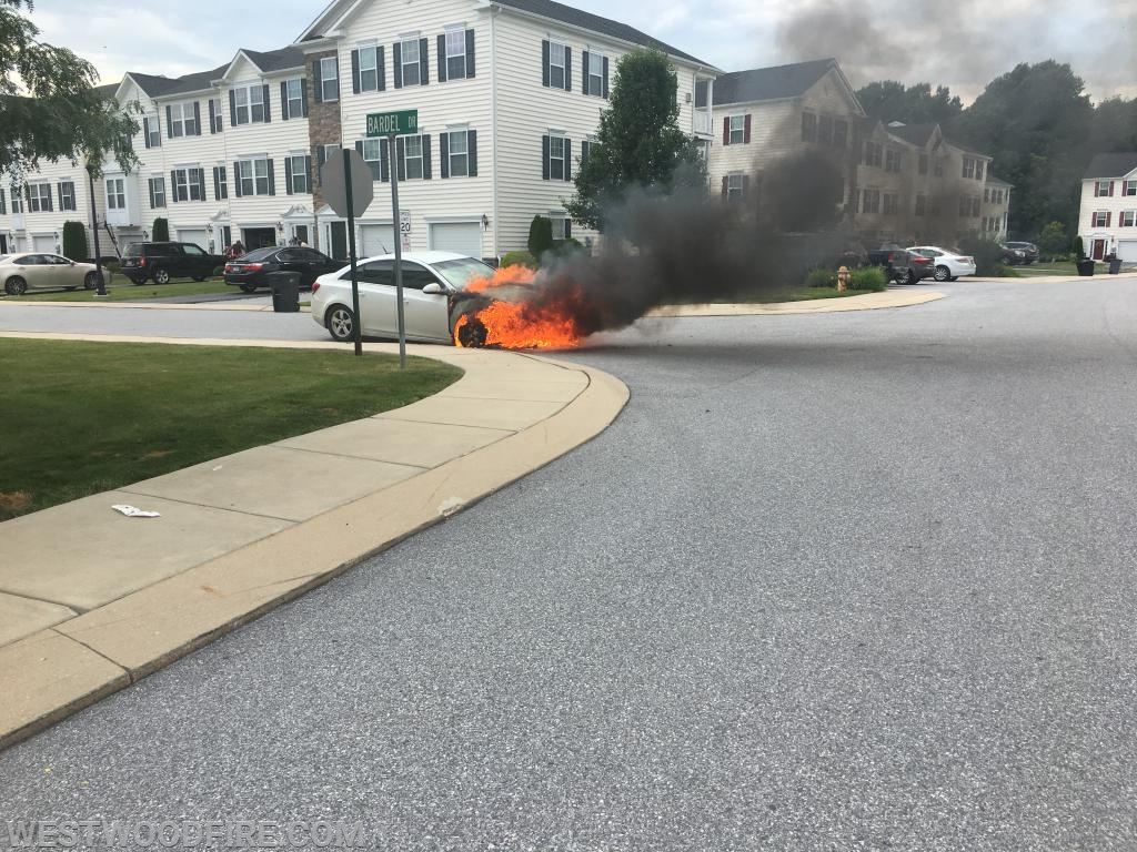 Firefighters arrived to a car well involved in flames on Bardel Drive.