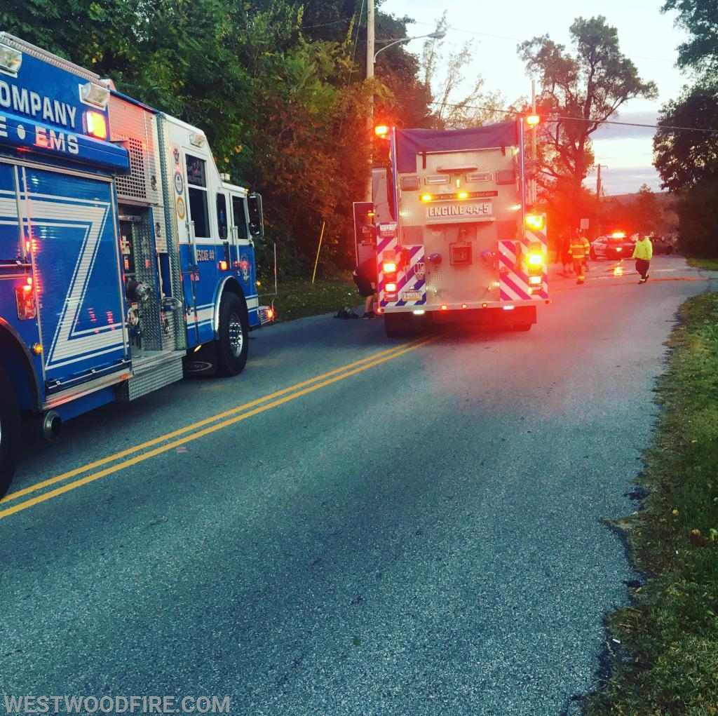 Rescue 44 and Engine 44-5 on scene along Glencrest Road.