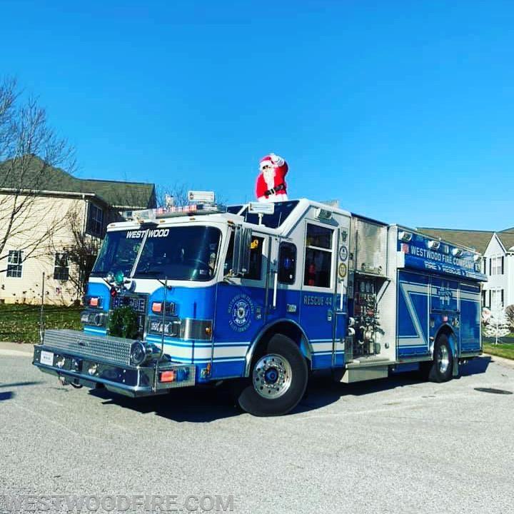 Santa Claus riding around on Rescue 44.