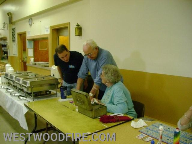Past Chief Sly, Harold McCoy, and Mabel McCoy during a Bingo fundraiser