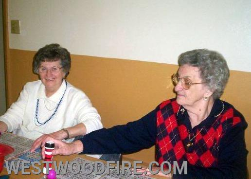 Mrs. McCoy, right, pictured playing Bingo (one of her favorite things to do!) alongside her sister-in-law Mary Sweigart