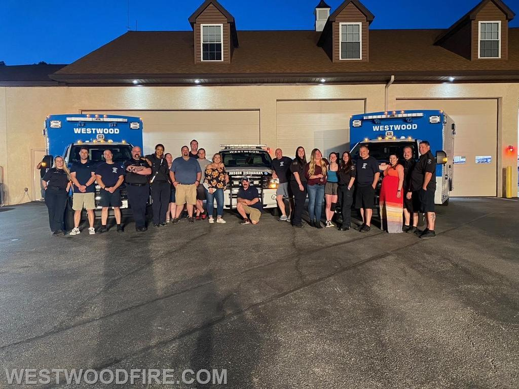 """Westwood staff and volunteers gathered at our main station to attend the 2021 Chester County EMS Council """"virtual"""" awards ceremony"""