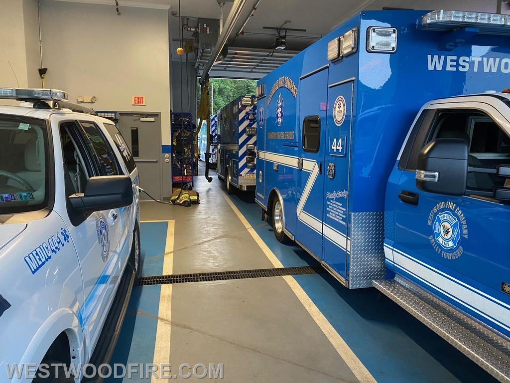 Medic 44-1, MICU 44-1, MICU 44-2, and MICU 44-3 in station