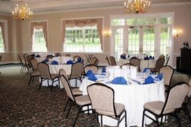 Tables set and accented with our familiar blue and white linens